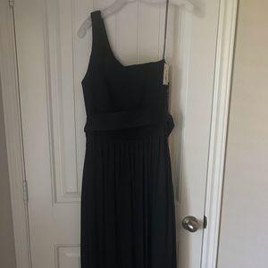 Black, one shoulder maxi dress from David's Bridal